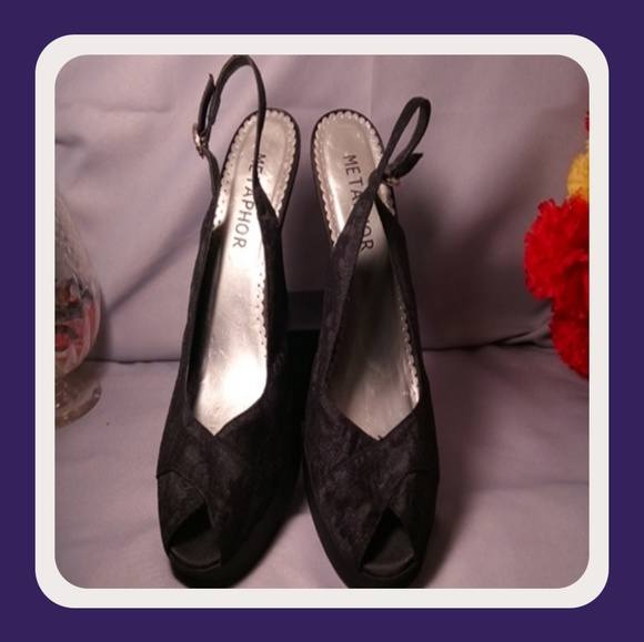 3aa858607 Metaphor Shoes | Lace Peep Toe Sling Back 5 Heels | Poshmark